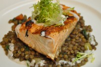 "Grilled Scottish ""Loch Suart"" Salmon over French Lentils"