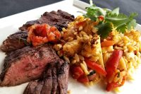 Skirt Steak with Orzo